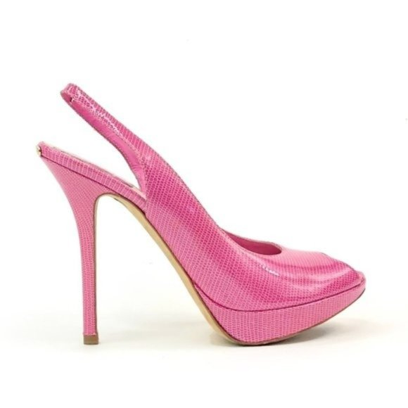 Dior Barbie Pink Leather Peep Toe Slingback Pumps